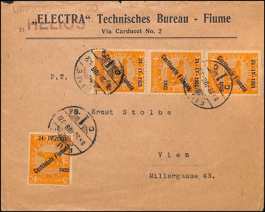 Lot 1030 - Fiume - Rijeka 1918-1928 i Dalmacija / FIUME -Rijeka, 1918-1928 and Dalmatia 1922 -  SFK Auctions Public auction #52 Western Balkans incl. Serbia, Croatia, Slovenia, Montenegro, Bosnia, Yugoslavia etc.